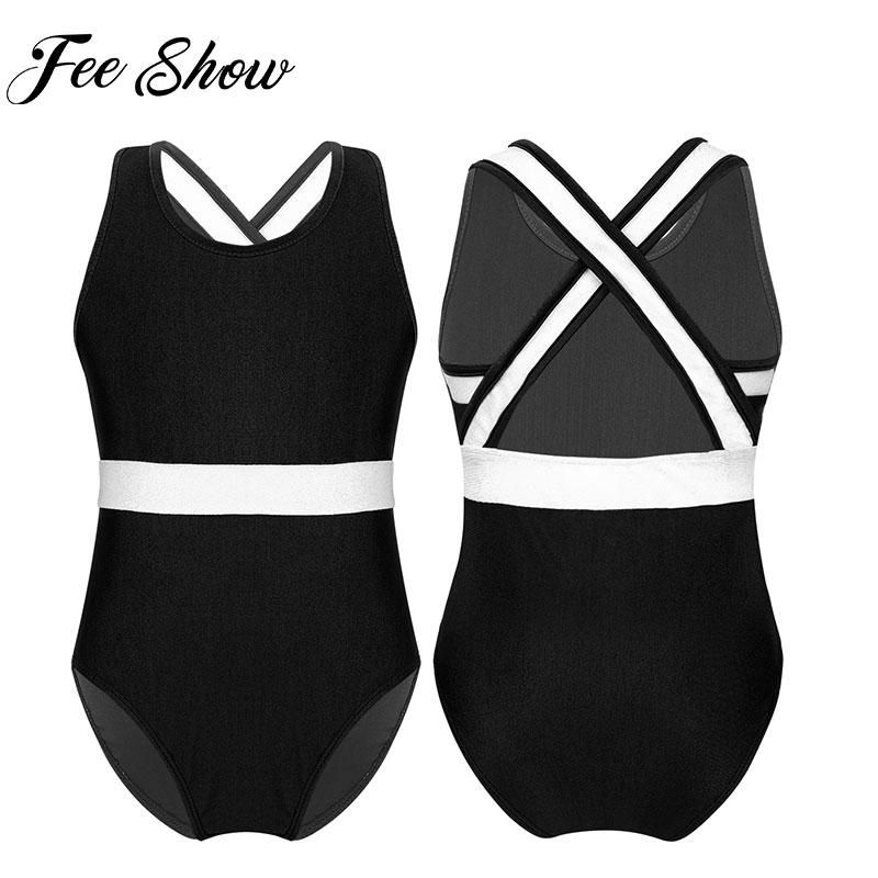 Girls Kid Sleeveless Vest Dance Gymnastics Leotards Ballet Leotard Costume Ballet Clothing Dancewear Children Gym Jumpsuit