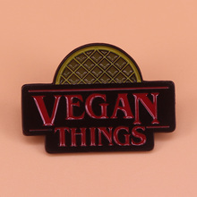 Vegan things enamel pin waffle eggo brooch stranger things fans badge animal rights activist pins ve