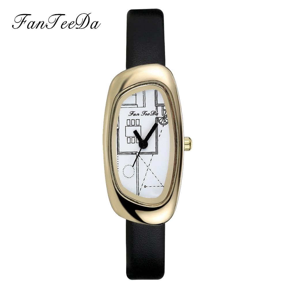 цена на FanTeeDa 2017 Top Brand Women Watches Luxury Fashion Casual Business Black Gold Quartz Wrist Ladies Girls Leather Strap Watch