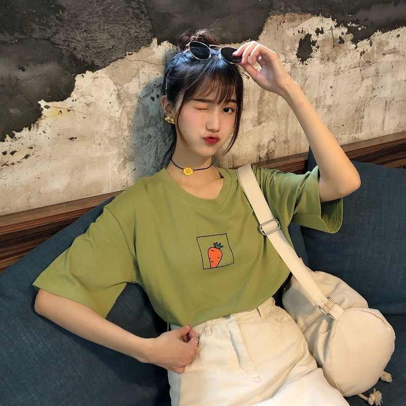 New Korean Avocado Green Cute Carrot Printed Short Sleeve T Shirt Women Summer Small Fresh Tshirt Harajuku Tee Shirt Femme
