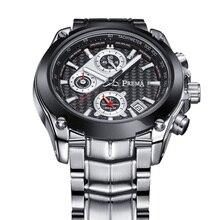 2016 Новый Мужчины известный часовой бренд PREMA Silver Из Нержавеющей Стали Дата Спорт Кварцевые наручные Часы Мужские Наручные Часы relogio мужской