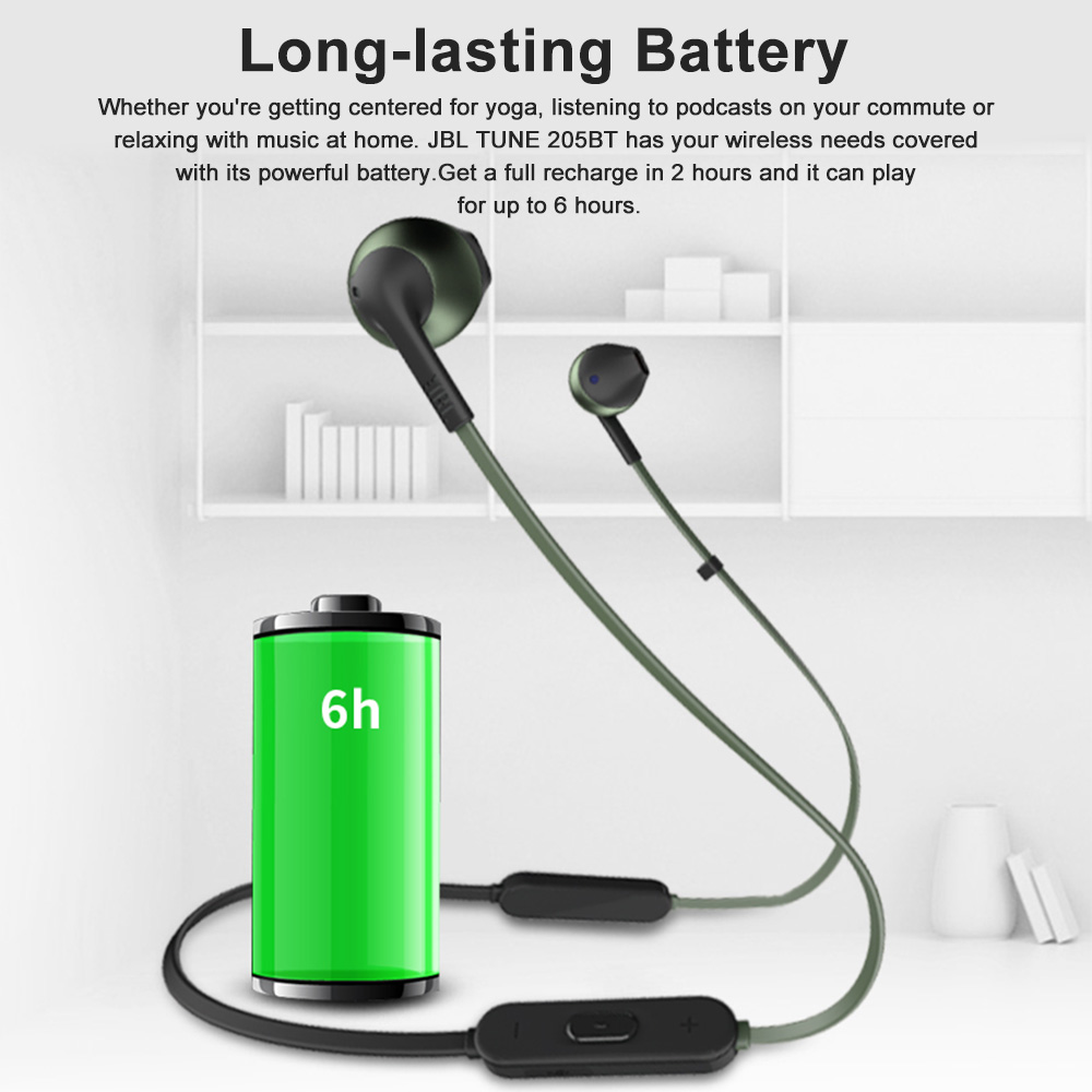 a19dd6812 JBL Lifestyle TUNE 205BT Wireless Bluetooth Headphone Dynamic Neckband Headset  Bluetooth 4.1 Sport earbud with Mic Earphone-in Bluetooth Earphones ...