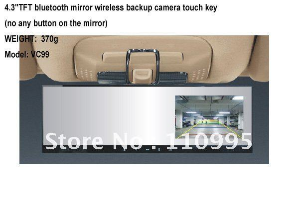Sell car kit with bluetooth rearview mirror + wireless backup camera+4.3''TFT display