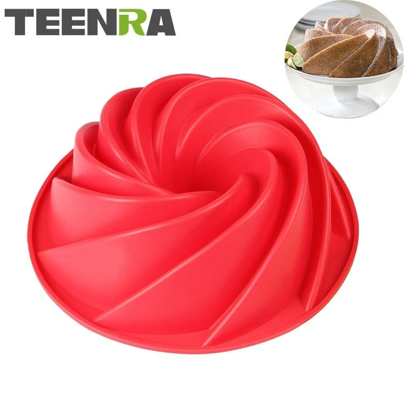 TEENRA 1PCS 9 Inch Silikon Spiral Bundt Pan Silikon Tort Kalıplı 3D Çörək Tortu Pan DIY Böyük Çörək Yemək Qabları Süfrələri