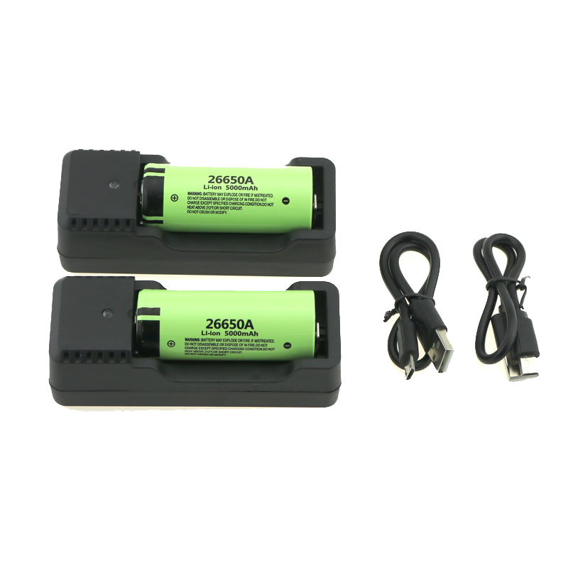 <font><b>26650A</b></font> Li-ion 5000mAh Battery Rechargeable 3.7V 26650 Li-ion Battery Rated Discharge Current Max 20A Batteries Universal Charger image
