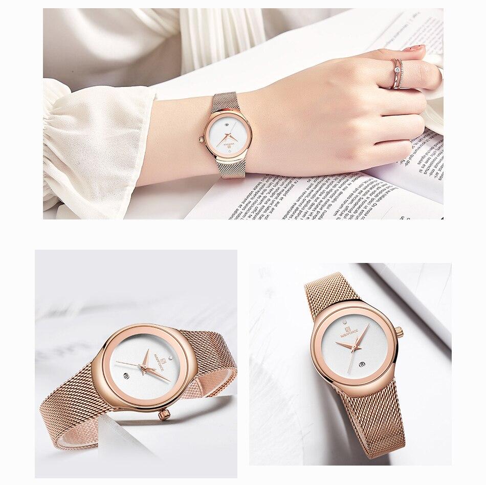 NAVIFORCE Women's Watches Fashion Girl Wristwatch Luxury Quartz Watch Women Stainless Steel Mesh Bracelet Clock Bayan Kol Saati (8)