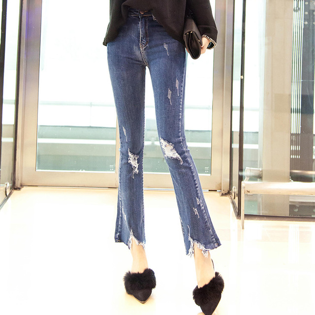 Aliexpress.com : Buy Big Bell Bottom Jeans Flare Pants Ripped