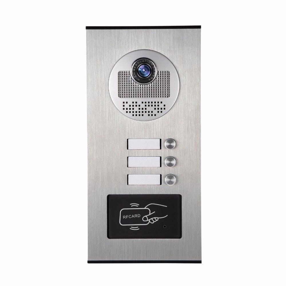 YobangSecurity Métal En Aluminium Extérieure RFID Contrôle D'accès Sonnette Caméra Pour 3 Unités Appartement Interphone Vidéo Porte Téléphone Système