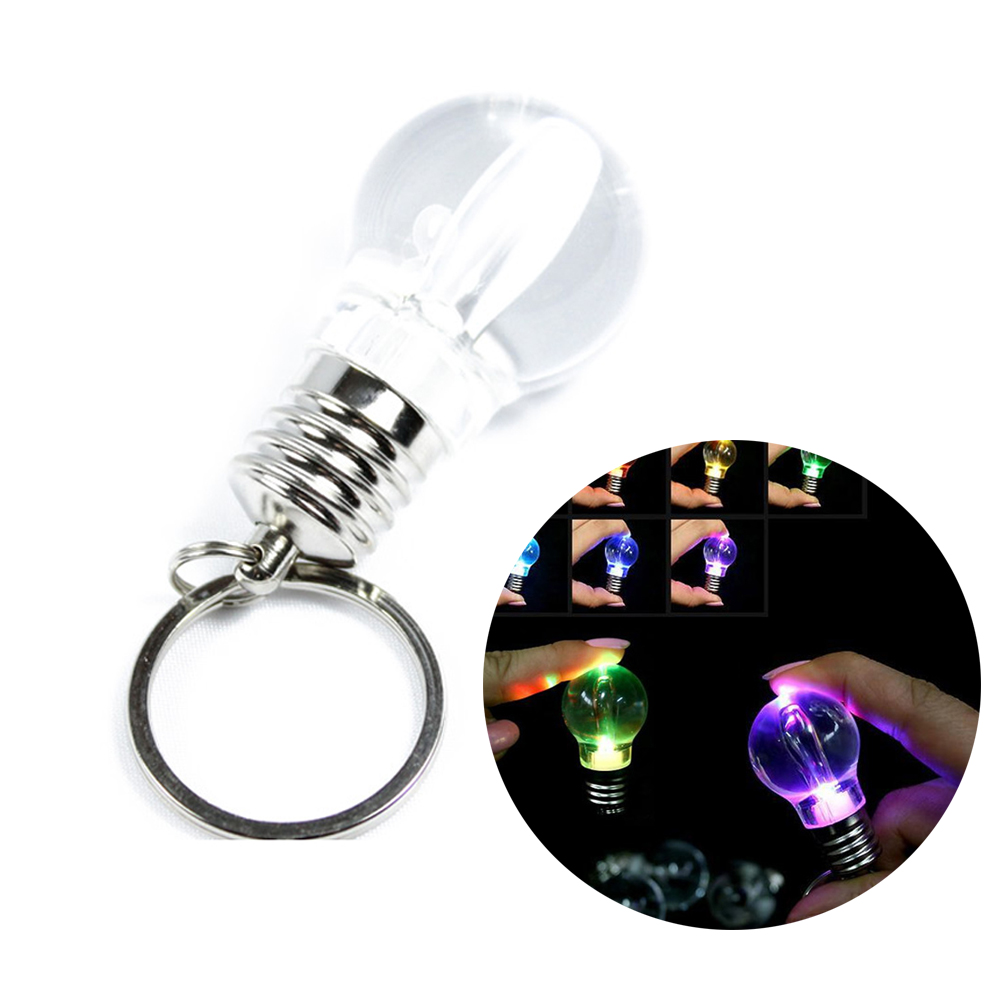 Brand New Lovely Clear Silver LED Light Lamp Bulb Keychain Flash 7 Colors Light Dropshipping HR