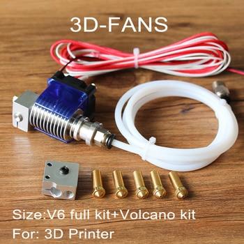 Impressora de longa-distância 3D V6 J-cabeça Hotend com 3010 fan para 1.75/3.0mm Extrusão Bowden 0.4 Bico + kit Vulcão