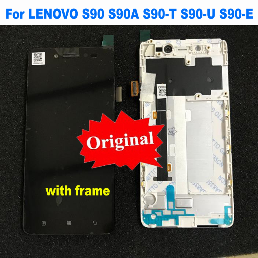 Original New LCD Display Touch Screen Digitizer Sensor Assembly with Frame For Lenovo S90 S90A S90-E S90-T S90-U Phone PartsOriginal New LCD Display Touch Screen Digitizer Sensor Assembly with Frame For Lenovo S90 S90A S90-E S90-T S90-U Phone Parts