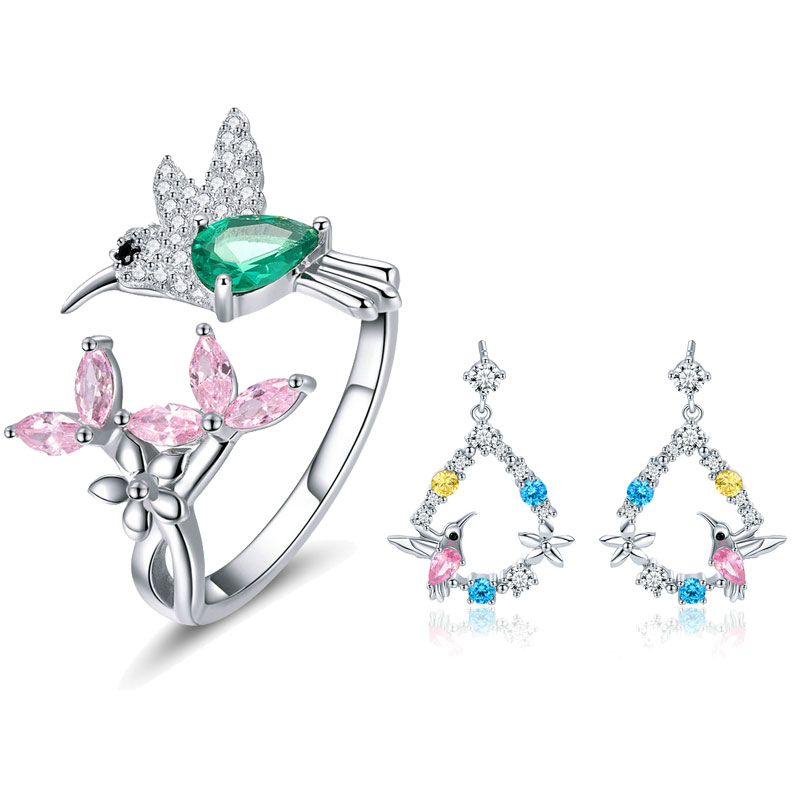 BISAER 925 Sterling Silver Jewelry Set Bird Hummingbirds Greeting Flower Color CZ Jewelry Sets for Women Silver 925 Jewelry браслет с брелоками seendom jewelry 925 pulseiras cz xoxo pbs105