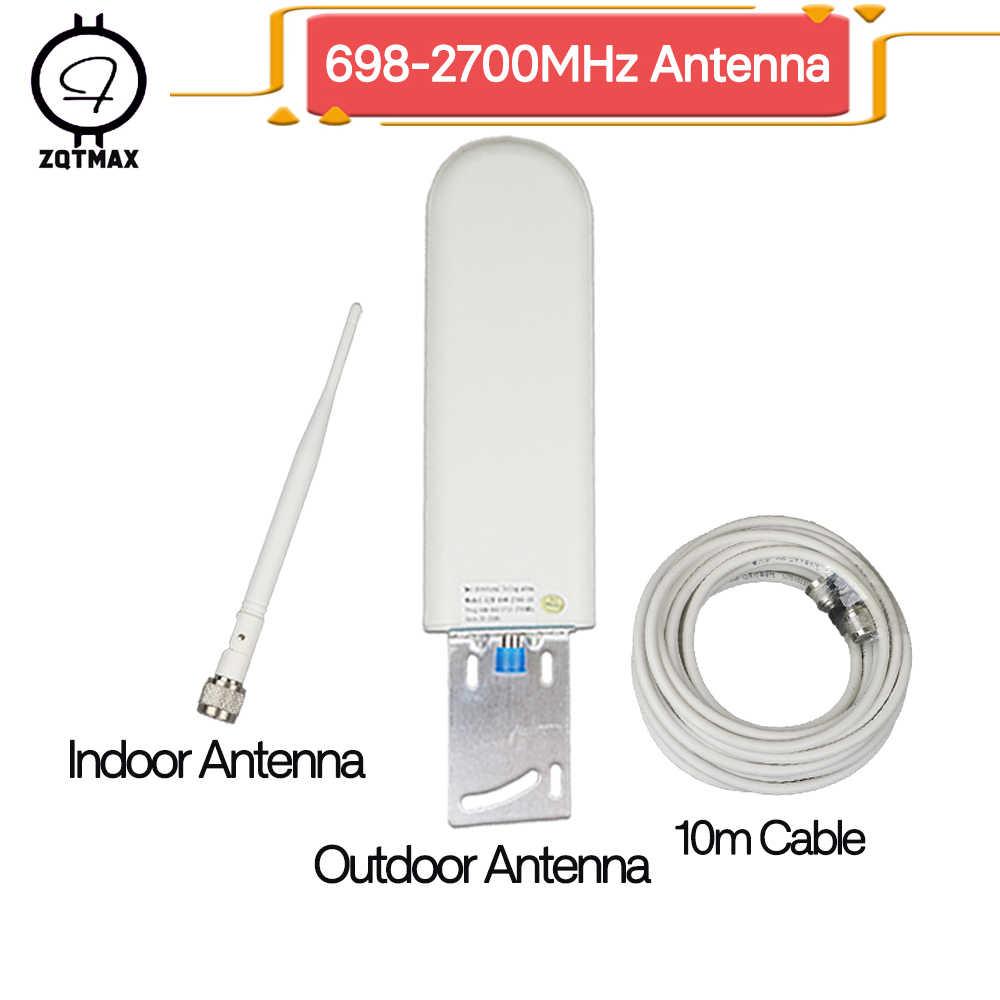 ZQTMAX сотового телефона для ретранслятор 900 1800 2100 2600 2g, 3g, 4g, gsm Репитер сигнала мобильного телефона антенна на открытом воздухе + крытый и кабель