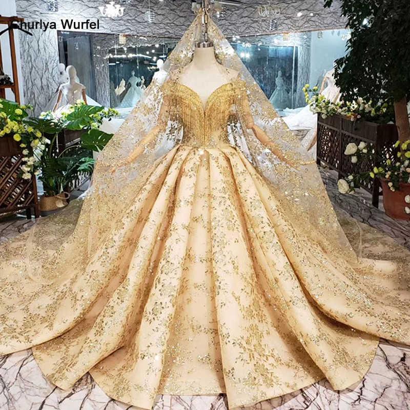 HTL313 Золотое кружевное свадебное платье с вуалью и v-образным вырезом, украшенное кристаллами и кисточками, свадебные платья принцессы для девочек, vestidos de novia 2019