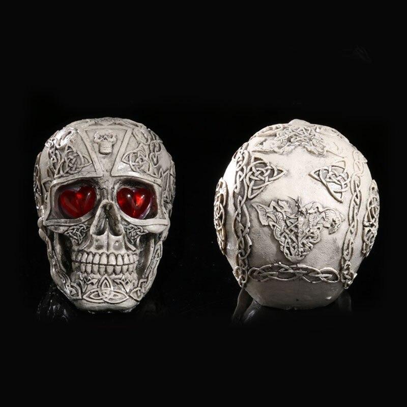 Scary Party Decor Resin Eyes Luminous Skull Halloween Decorative Home Pub Decors Statues Sculpture