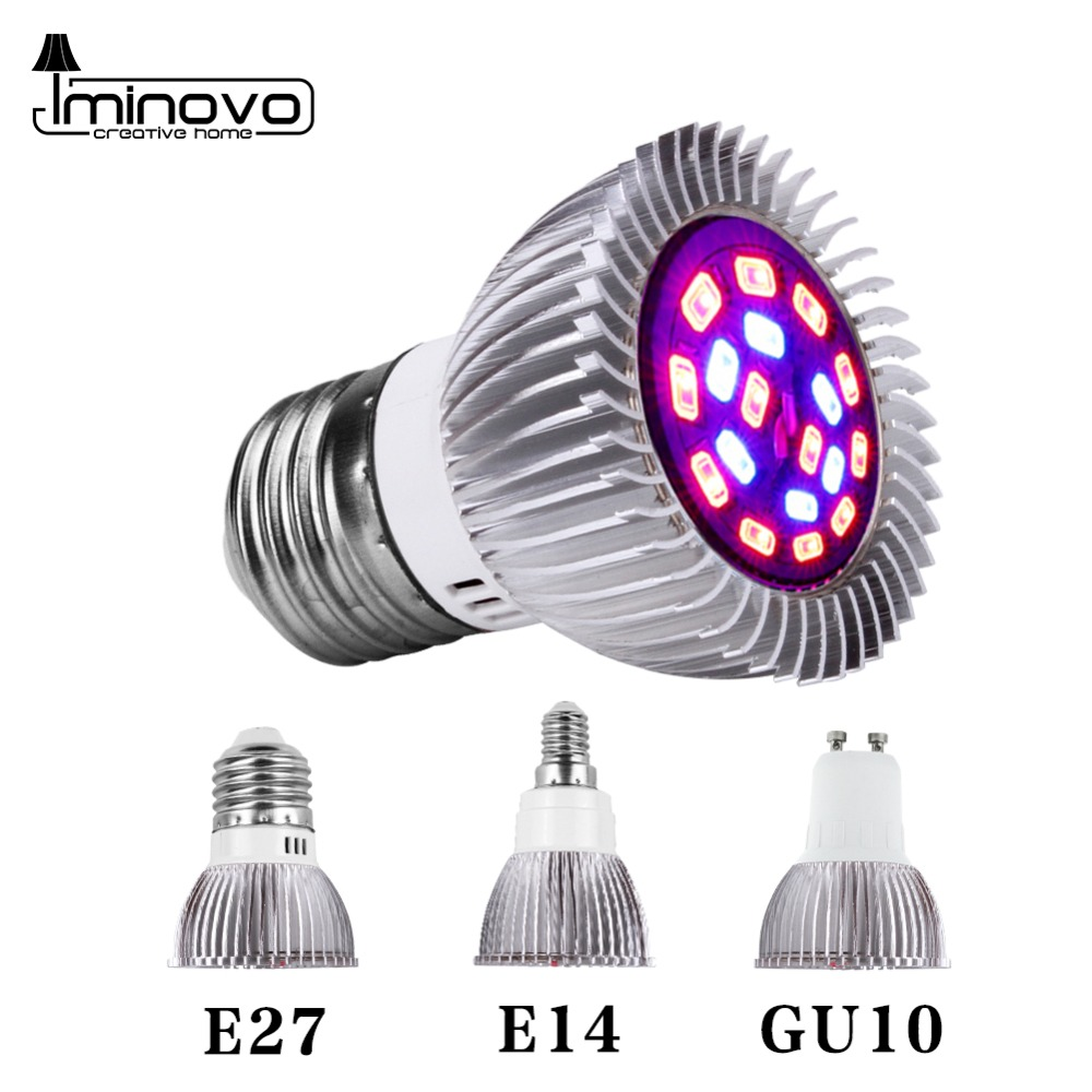 Full Spectrum Cfl LED Grow Light Lampada E27 E14 MR16 GU10 110V 220V Indoor Plant Lamp Flowering Hydroponics System IR UV Garden