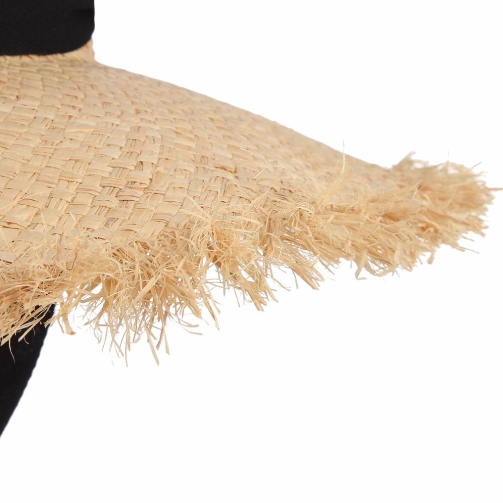 Əl istehsalı toxunuşlu Raffia Günəş Şapkası Qadın Qara - Geyim aksesuarları - Fotoqrafiya 4