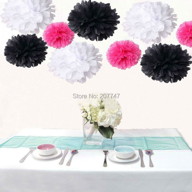 18 Pcs Lot Mixed 3 Sizes White Hot Pink Black Tissue Paper Pom