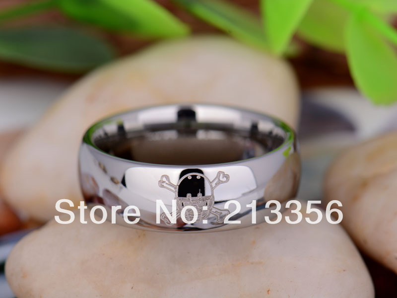 Free Shipping UK Russia Brazil USA Hot Selling 8MM Silver Dome Football Helmet Skull Mens Lord Tungsten Carbide Wedding Ring