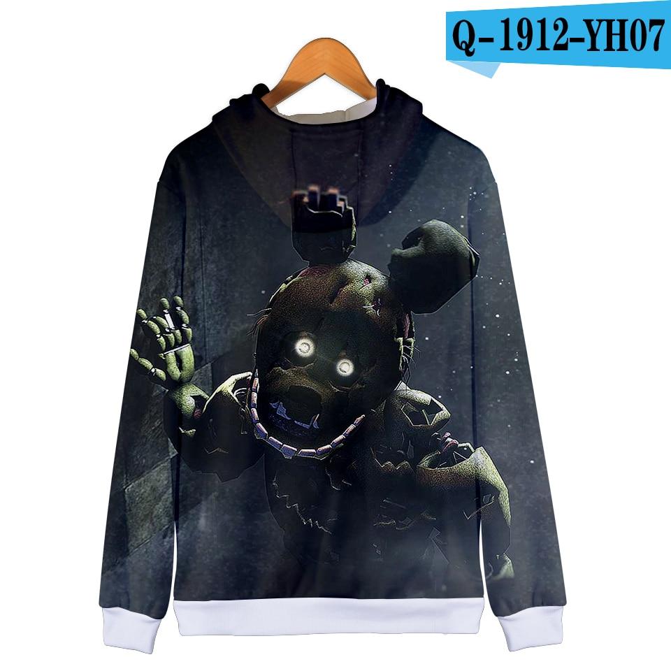 Five Nights At Freddy 3D Hoodie FNAF Children 3D Zipper Hooded Sweatshirt for Kids Boys Thin Winter Autumn Clothes Zipper Jacket