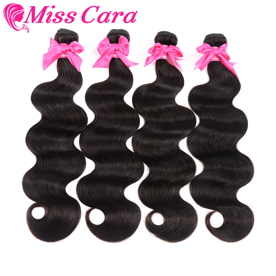 4 Bundles 400 Grams Indian Body Wave Hair Weave Bundles 100% Human Hair Extensions Natural Color Miss Cara Remy Hair Weaving