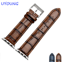 Quality Genuine Leather Watchband 24mm Retro Bamboo Replacement Strap For Mens For Apple Iwatch 42mm Dial