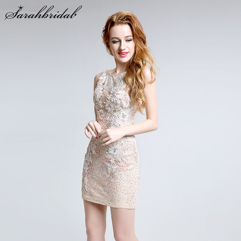 Sexy Champagne Lace Short   Cocktail     Dresses   Cut Back Crystal Sequin Lace Appliques Evening Party Gown LSX141