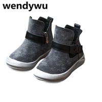 WENDYWU Autumn Brand High Top Sneakers For Children Genuine Leather Shoes Boys Casual Sneakers Baby Girls