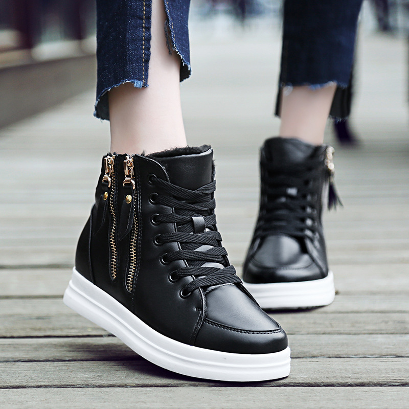 Image 3 - SWYIYV White Shoes Woman High Top Spring Autumn 2018 Female Fashion Casual Shoes Zipper Hided Wedge Lady Sneakers White ShoesWomens Vulcanize Shoes   -