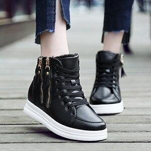 Image 3 - SWYIYV, zapatos blancos para mujer, zapatos informales de moda de primavera y otoño 2018 para mujer, zapatillas de deporte de cuña con cremallera y cierre alto para mujer, zapatos blancos