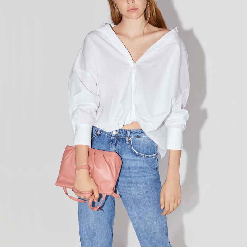 Summer Women's Shirt Casual Solid Color Knotted Decorative Loose Shirt