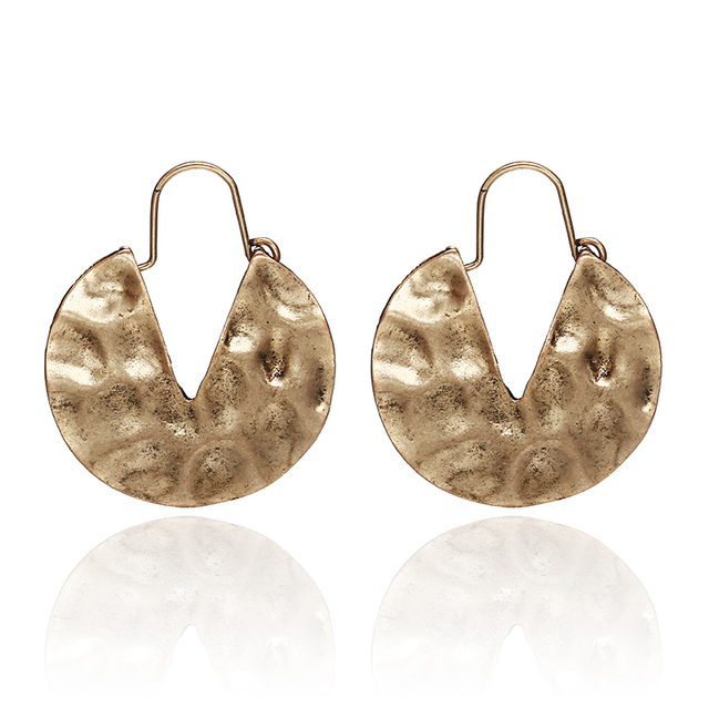 E0154 Simple European Gold Color Round Retro Hook Earrings For Women Round Pendant Earrings Vintage Jewelry Ear Accessories