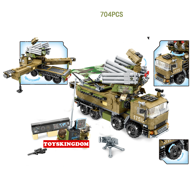 Modern military wars Armor 51 mobile defense command center headquarters building block army figures truck bricks toys for boys mobile work center