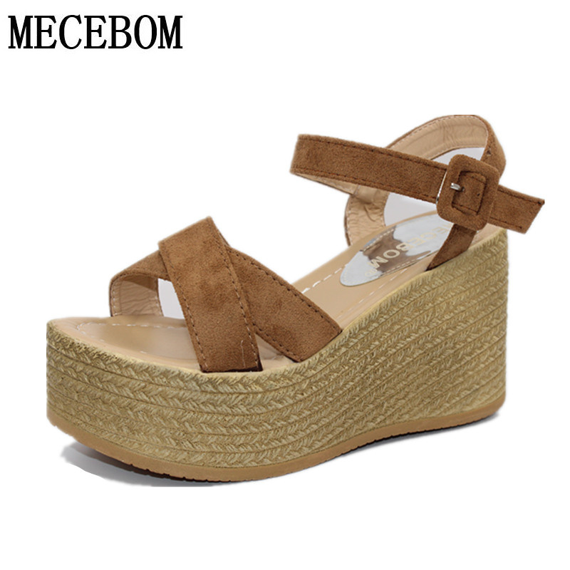 2017 Suede Gladiator Sandals Platform Wedges Summer Creepers Casual Buckle Shoes Woman Sexy Fashion beige High Heels K13W chnhira 2017 suede gladiator sandals platform wedges summer creepers casual buckle shoes woman sexy fashion high heels ch406