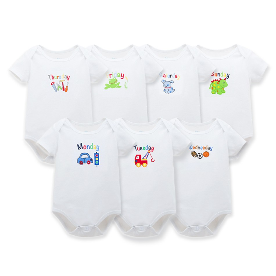 Hot 7Pcs/lot Baby Clothes Week 7 Days Infant Baby   Romper   White Cartoon Baby Girl Clothes Baby Boy Clothes Body Suit for Newborns