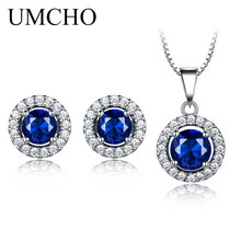 UMCHO Real 925 Sterling Silver Jewelry Sets Created Sapphire Stud Earrings Necklace Elegant Birthday Gift For Women Fine
