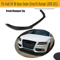 For S4 Carbon Fiber front bumper lip spoiler for Audi A4 B8 Sline S4 Sedan 2009 2012 Non B8 Standard Black FRP Car Style