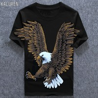 TOP Free shipping military cotton big plus size t shirt men print Eagle 4xl 6xl XXXL 8XL hiphop t shirt t shirt men
