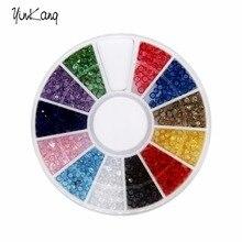 1 шт. 12 Цветов Nail Art Стразы Акриловые Nail Украшения 1.5 мм для Уф-Гель и Ноутбук DIY