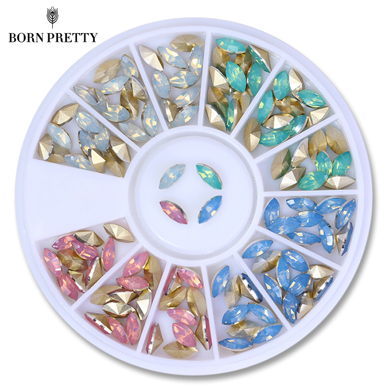 Colorful Opal Nail Rhinestones Marquise Sharp Bottom Multi-size Flat Bottom Manicure 3D Nail Art Decorations in Wheel opal rhinestones manicure 3d strass nail art decorations new arrival opal nail stones for nails design nagel decoratie zj1259
