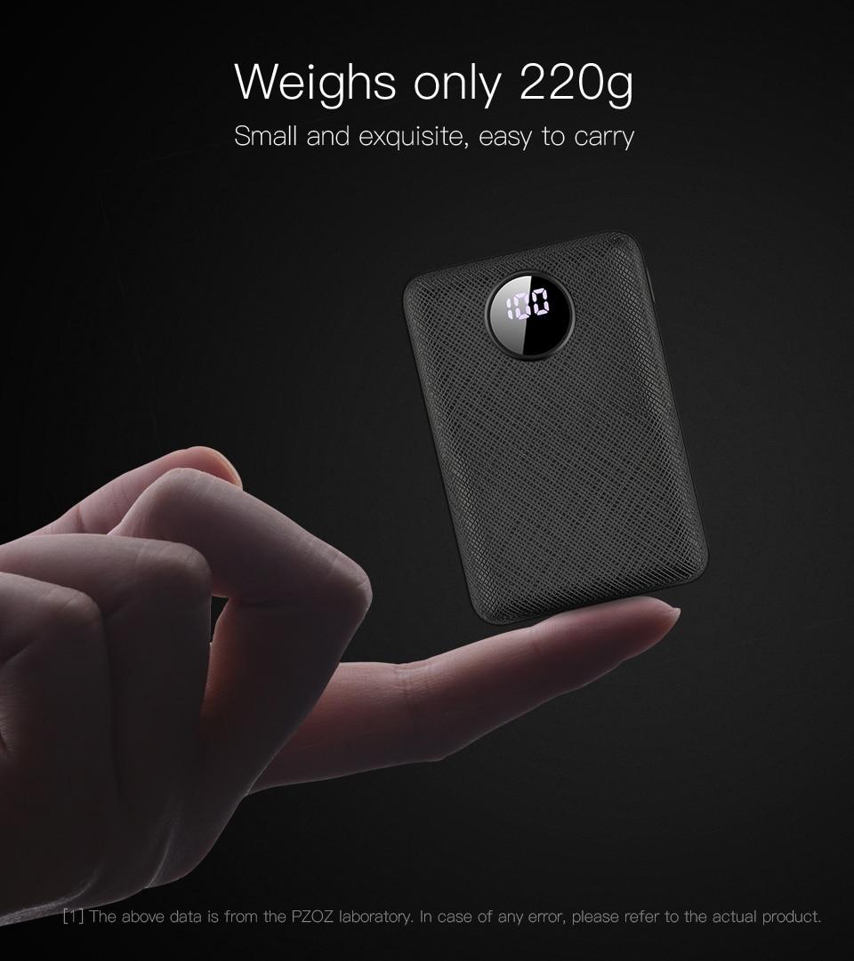 PZOZ Power Bank 10000mAh Dual USB Mobile Phone External Battery Fast Charge For iphone xiaomi mi Portable Charger mini PowerBank 3