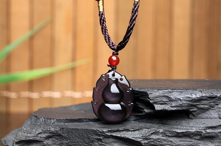 100% Natural Color Obsidian Carved Chinese Lucky gourd Pendant + free Necklace100% Natural Color Obsidian Carved Chinese Lucky gourd Pendant + free Necklace