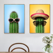 Sunglasses Tropical Cactus Nordic Posters And Prints Wall Art Canvas Painting Wall Pictures For Living Room Bedroom Home Decor sndway 70m laser distance meter portable sw p70 handheld distance measurer golf rangefinder range finder