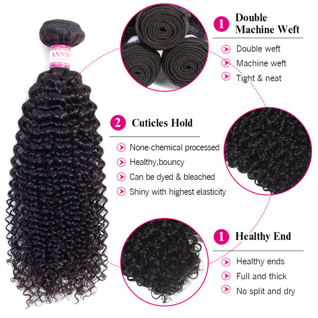 Kinky Curly Hair 1/3/4 pc Natural Color 8-26inch Brazilian Hair Weave