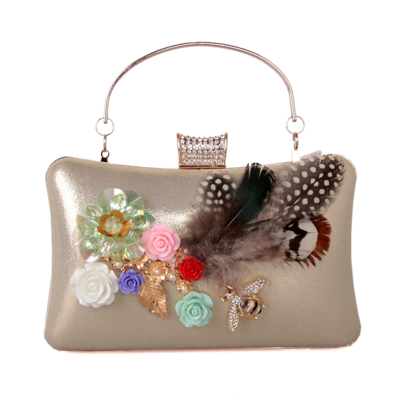 DAIWEI Women Evening Bag Clutch Handbag With diamonds Pearl Feather leatherette Wedding Event/Party Formal Chain Sequined New luxury crystal clutch handbag women evening bag wedding party purses banquet