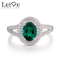 Leige Jewelry Lab Emerald Ring Engagement Ring Oval Cut Green Gemstone Solid 925 Sterling Silver May Birthstone Halo Ring