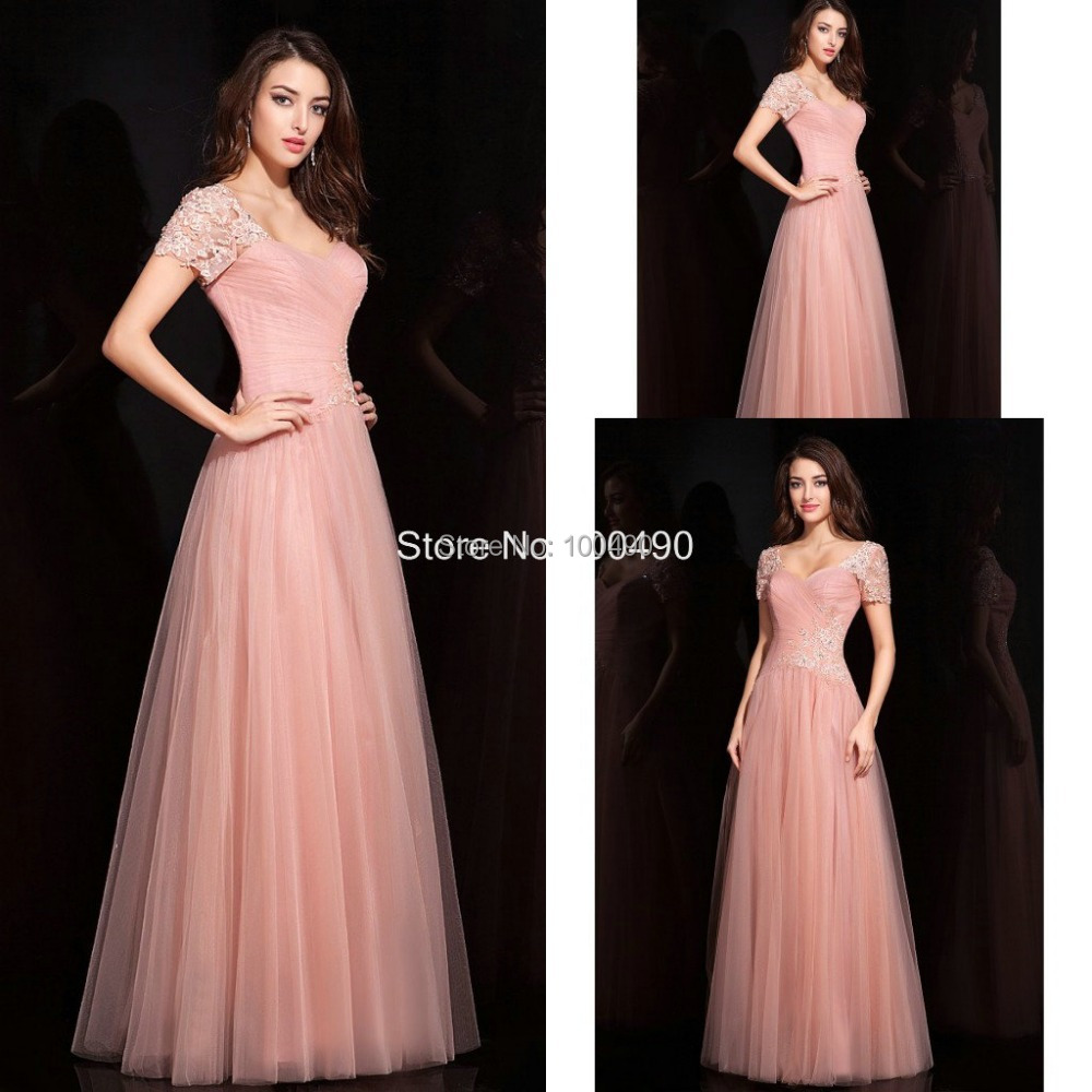 Free Shipping Lace Tulle Petite Evening Dress V Neck Short Sleeves ...