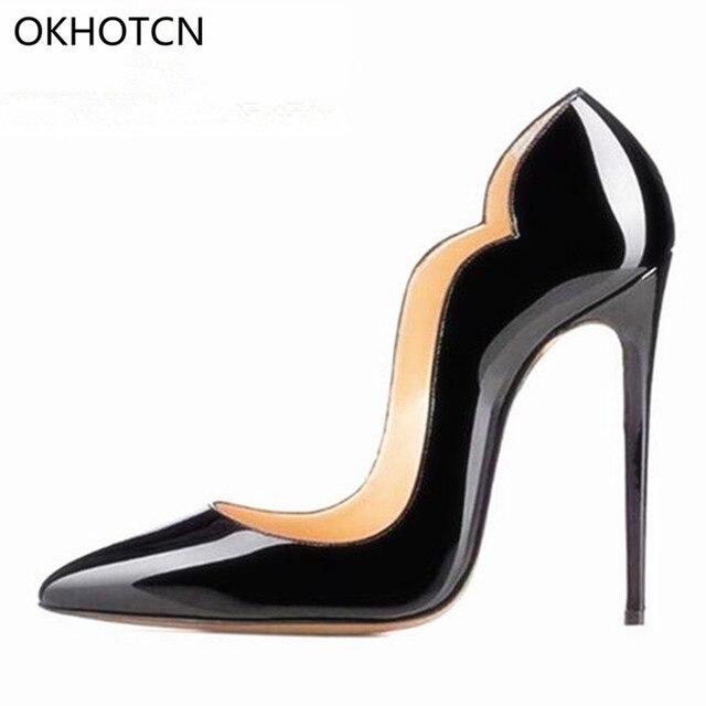 96c4a37d Buty designerskie kobiety luksusowe 2019 czarne buty ze skóry lakierowanej,  czółenka na wysokim obcasie gorąca