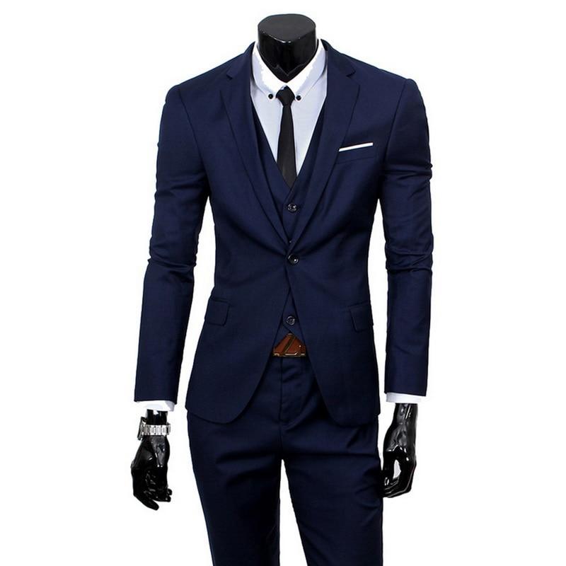 2019 High Quality Men Blazer Masculino Thin Suits Fashionable Clothes Slim Fit Three Pieces Suit Blazer (Jacket+Pants+Vest) Sets 1