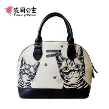 Blume Prinzessin Marke Damenmode Leinwand Sommer Shell Taschen Weibliche Katze Top-Griff Handtaschen Umhängetasche Bolsa Feminina X002